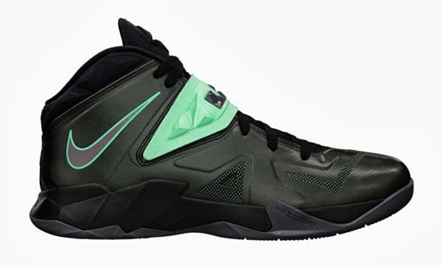LeBron Nike Zoom Soldier VII Black/Dark Grey-Green Glow Now Available